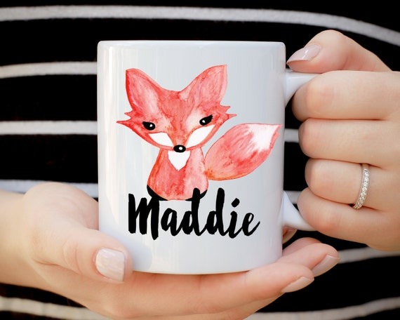 Fox Mug, Custom Name Fox Mug, Birthday Mug, Teenage Birthday Mug, Kids Birthday Present, Kid Mug, Woodland Creature Mug, Forest Whimsical