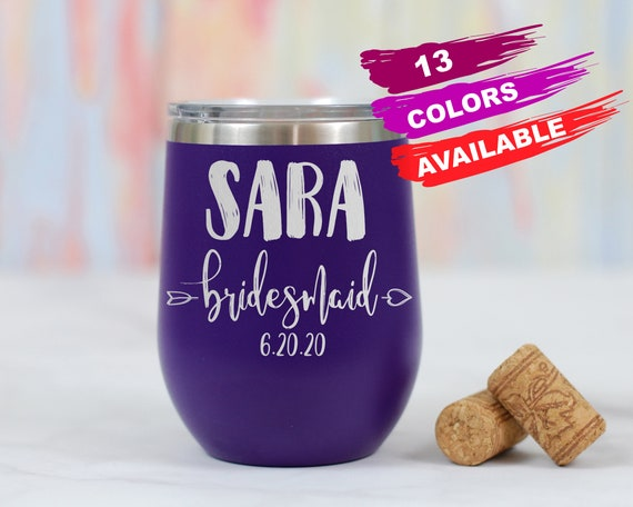 Personalized Bridesmaid Wine Tumblers