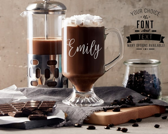 Etched Coffee Glass With Names Or Funny Quotes