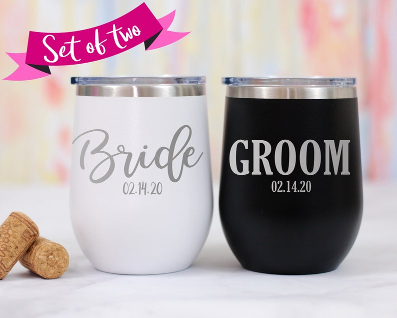 ae7ac177afd Bride and Groom Stemless Wine Tumbler Set image 0 ...