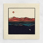 Refections Print - Sun & Moon Minimalist Landscape, Day and Night, Blue Nature Wall Art / 11x11, 22x22