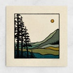 Take a Hike Print - Sun Minimalist Landscape, Trees Forest Scenic, Blue & Green Nature Wall Art / 11x11, 22x22