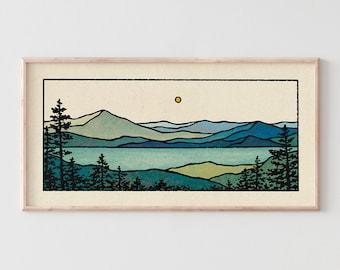 Emerald Bay Print - Minimalist Mountain Panorama, Calm Lake Landscape, Blue & Green Earth Tones, Modern Tree Nature Wall Art / 11x22, 22x44