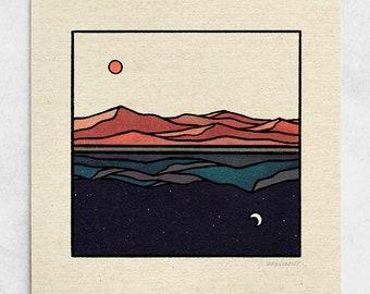 Reflections Print - Sun & Moon Minimalist Landscape, Day and Night, Blue Nature Wall Art / 11x11, 22x22