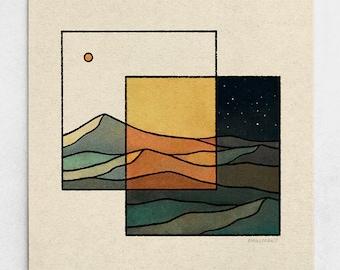 Transition Print - Day & Night Minimalist Landscape, Abstract Sunset, Green Mountains, Sun and Stars, Burnt Orange Nature Art / 11x11, 22x22