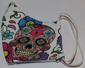 Fabric Mask Womens Sugar Skull Face Mask Reuseable Washable Double Layer Skull Skulls White Pink Made in Canada