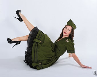 LAST Pinup Army Military Dress Retro Rockabilly Pin Up Gothic Lolita Dress Cosplay Costume Green Black Custom Size including Plus Sizes