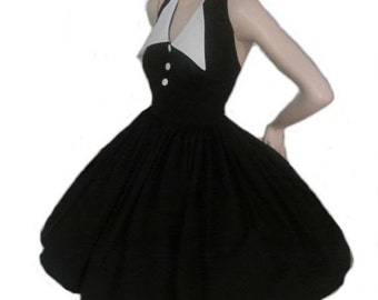 Pin up Dress - Black Dress - Halter Swing Dress - Pinup Dress - White Collar - Rockabilly Dress -  Retro Dress - Custom Size - Plus Sizes