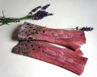 Felted  pink and grey fingerles from merino woo for women / Winter gloves/ Winter accessories mittens for women