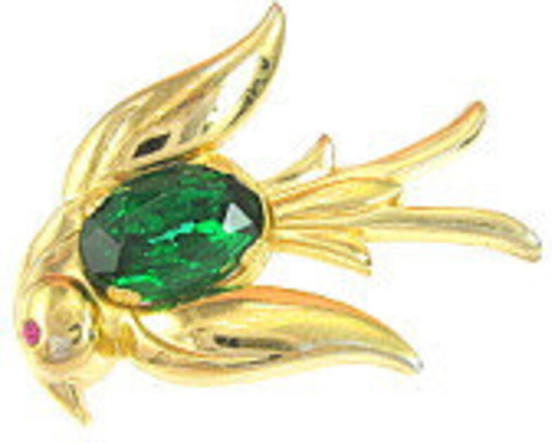 dba240effa763 Vintage Signed CORO Pegasus Gold Plated Swallow Rhinestone Pin