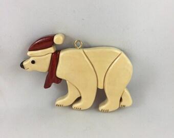 Wooden Manitoba Polar Bear Ornament, Christmas Ornament