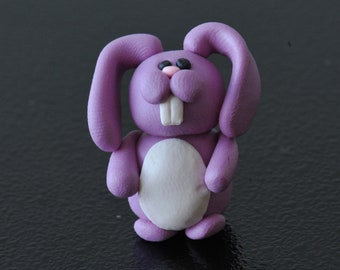 Miniature Polymer Clay Lavender Purple Bunny Rabbit
