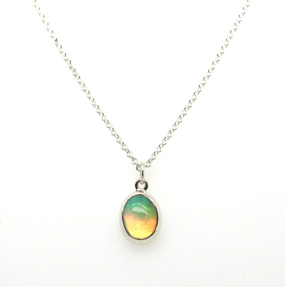 Ethiopian Opal Jewelry Layering Necklace Bright Opal Pendant Necklace. Simple Necklace