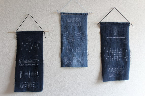 Sashiko Hand Stitched Recycle Reuse Old Jeans Wall Hanging Sashiko Stitches Simple Tapestry Wall Art
