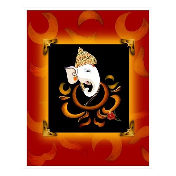 Hindu Poster Art: Hindu Spiritual Art: Ganesh Print Poster. East Indian