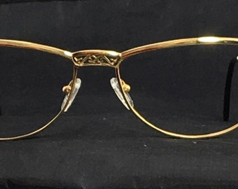 5623f951dd8 Lotos 80071 Solid 18kt Gold Large Cat Eye Frames Rare Collectible Vintage  European Jewelry Women s Fancy 60 mm Eyeglasses Germany 1990s NOS