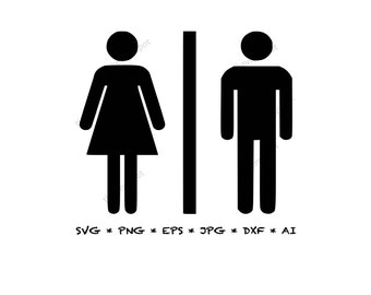 Men Women Restroom Vinyl Decal Sticker Sign Mens Womens Bathroom Unisex Gender