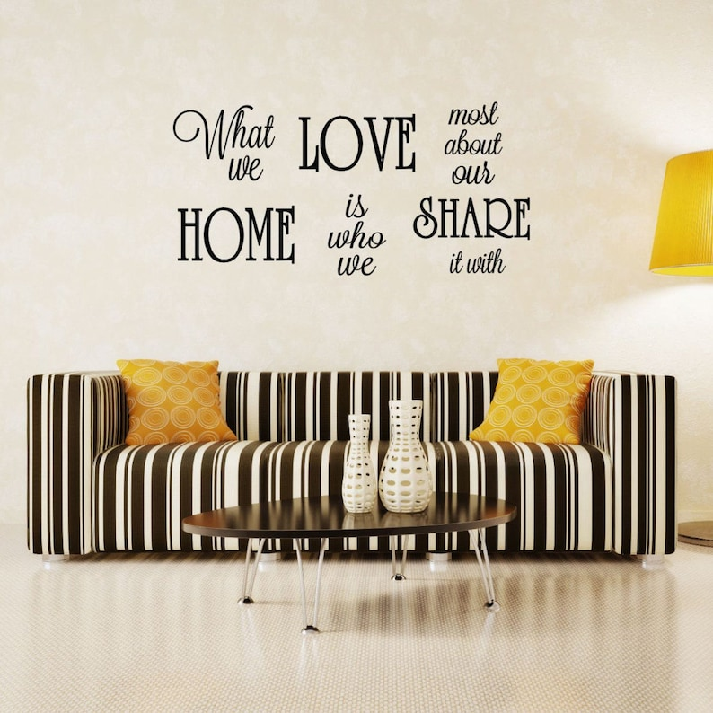 Vinyl Decals 30x14.6 What We Love Most About Our Home Is Who We Share It With Decal Family Quote 40+ Colors Available! Wall Art Decor