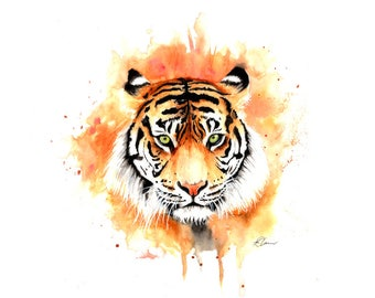 Original Tiger Watercolour Painting
