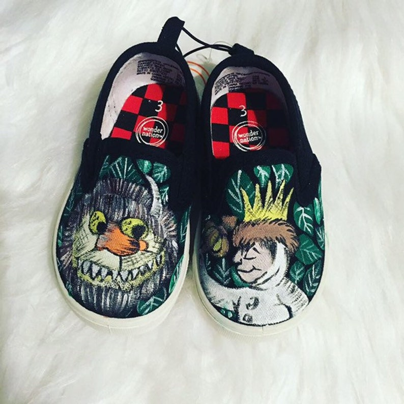 best service 31fcc c53ac Where the wild things are handpainted shoes   Etsy