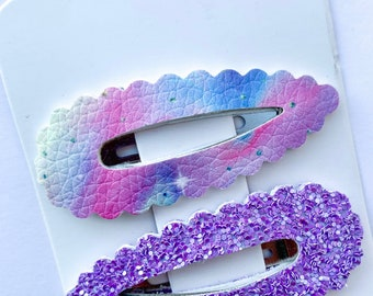 Set of TWO Pastel Rainbow Glitter Snap Clips Rainbow Hair Clips Easter Hair Bow Clips Easter Photo Prop Pig Tail Bows