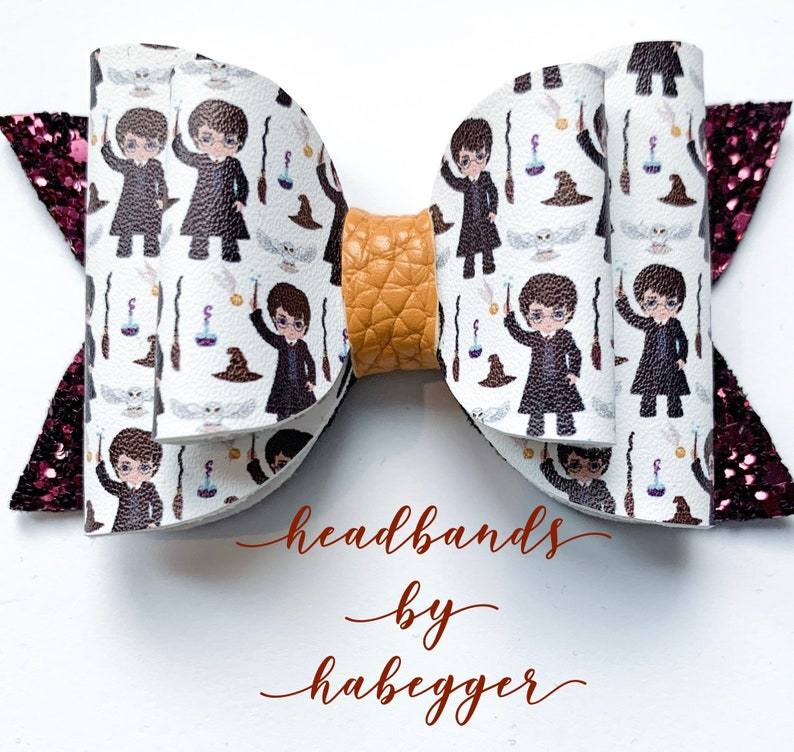 Potter Hair Bow Photo Prop Burgundy and Gold Wizard Bow Hair Clip Witch Hair Bow Girls Hair Clip