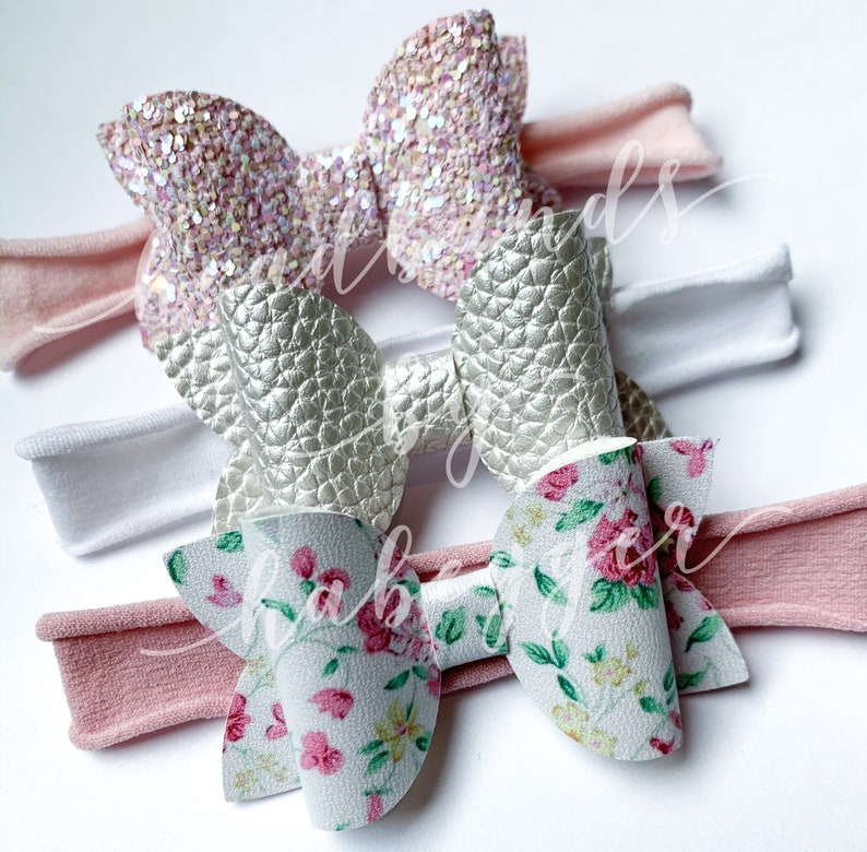 Set of THREE Bow Nylon Headbands Newborn Headband Pink and Floral Bow Headbands Photo Prop Baby Headband