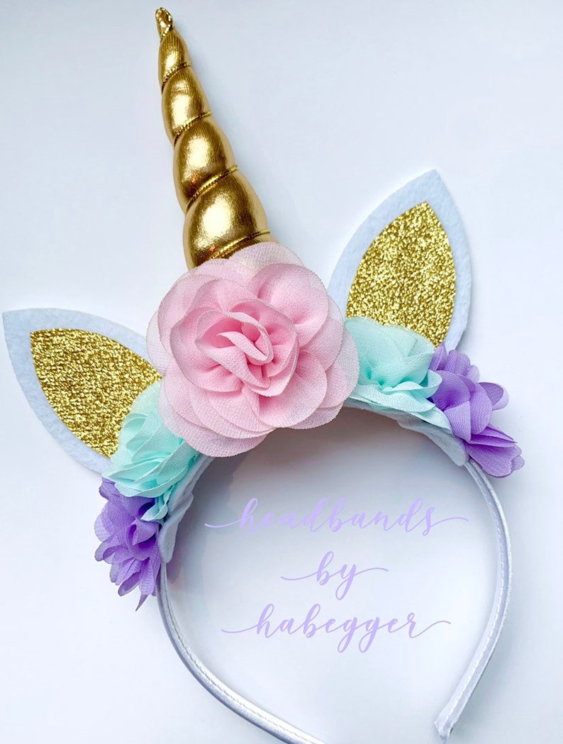 Lavender Aqua and Pink Unicorn Headband Princess Headband image 0