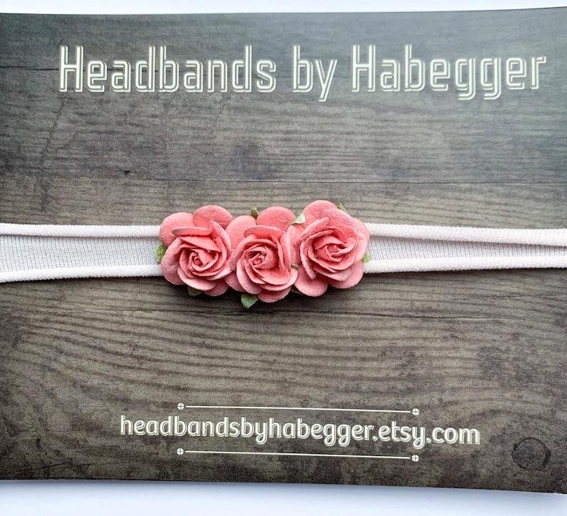 Coral Rose Baby Newborn Headband Newborn Tieback Pink Nylon Headband Nylon Headband Newborn Photo Prop