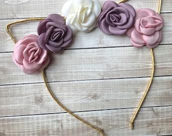Vintage-Style Satin Flower Cat Ear Headband, Toddler Headband, Girls Headband, Women's Headband, Cat Ears, Gold Headband, Baby Headband