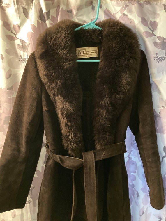 70s Chocolate Brown Penny Lane Faux Fur Suede Long