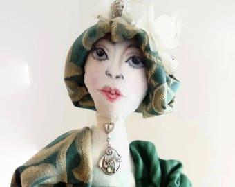 Rag doll Fabric doll Cloth Art Doll, Art Doll, Fabric Doll, Boudoir Doll, Textile Art, Collectors, Miss Adelise Edwardian OOAK doll