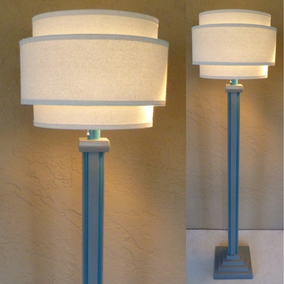 Retro Modern Wood Floor Lamp Base In Dolphin Gray With Teal Trim Without Shade Includes 3 Way Led Bulb Free Shipping To Lower 48 States