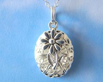 Flower Demi Essential Oil Diffuser Necklace,  Aromatherapy Diffuser Necklace, Silver Oil Diffuser Pendant