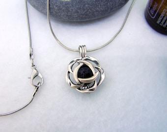 Lava Stone Diffuser Necklace, Lava Bead Pendant Flower, Essential Oil Jewelry, Diffuser Jewelry