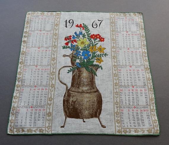 Vintage 1967 Calendar Swiss Cotton Hankie Handkerchief with Folk Theme