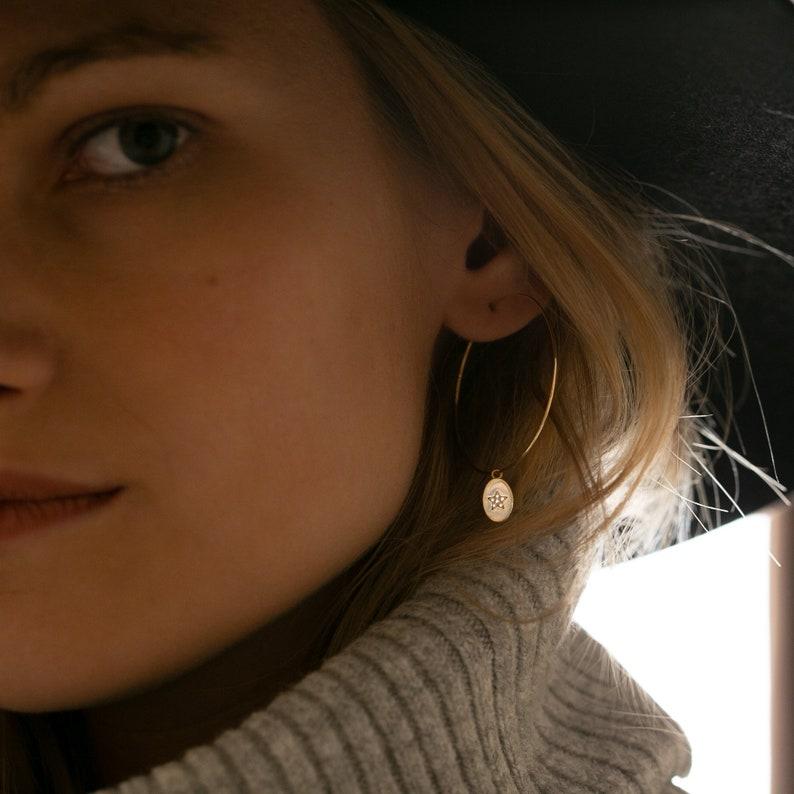 Earrings Creoles with oval Pendant Star \u2022 Heart Pendant crystal Crystal pendant \u2022 Earrings ear Pendant Ear earrings Gemma