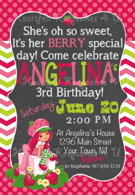 strawberry birthday invitation - HD1038×1500