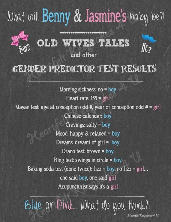 Gender Reveal Chalkboard Old Wives Tales Predictor Results Sign Digital