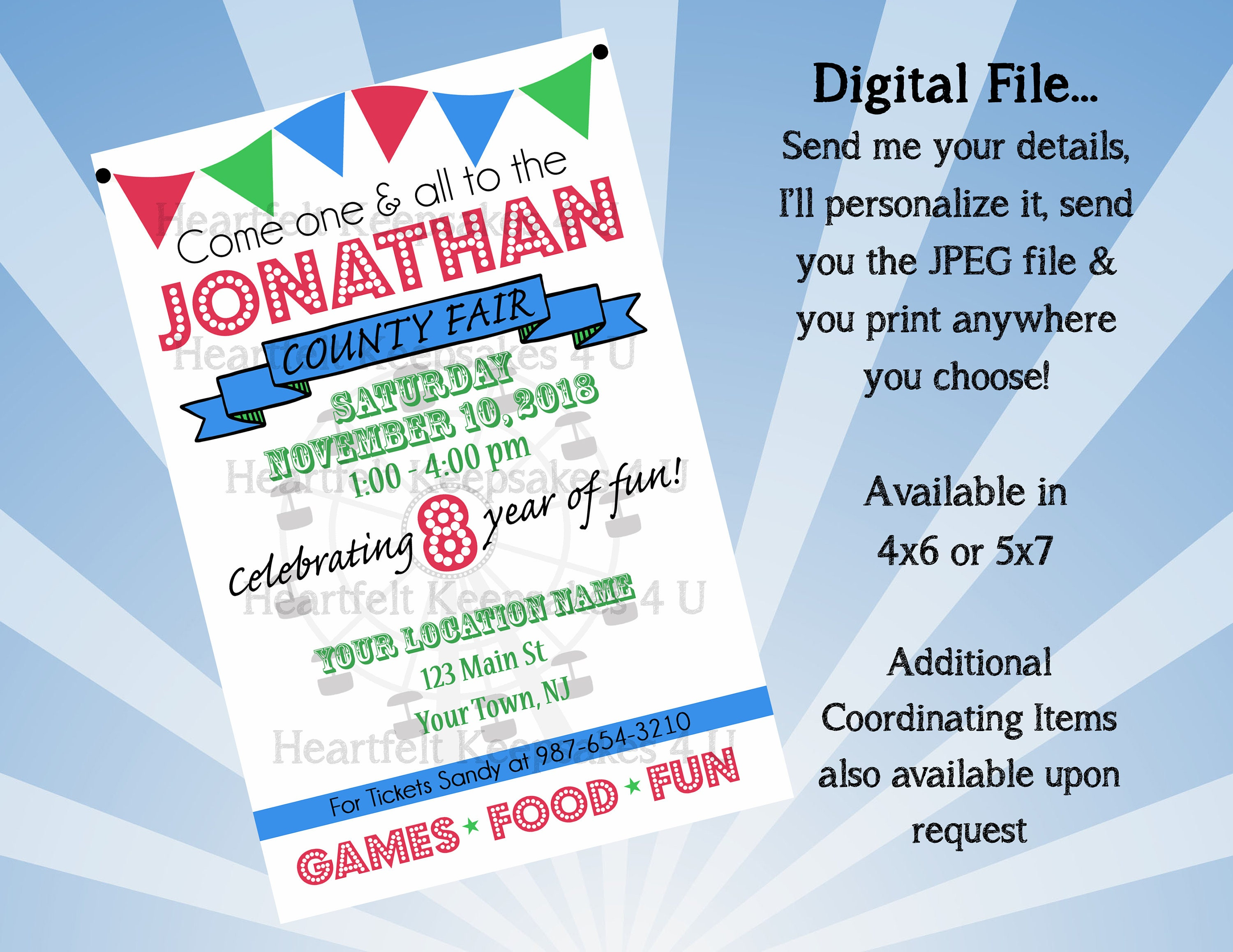 County Fair Carnival Birthday Party Invitation Invite Personalized