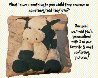 Personalized Flax Seed Ice & Heat Pack Custom Photo for Children Kids Babies Loved Ones Great Gift