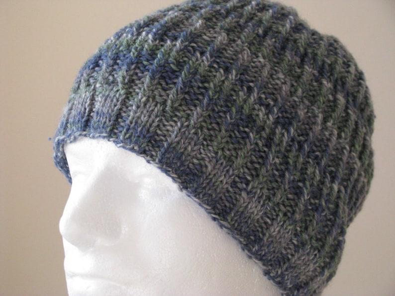 Instant Download Mens Knit Hat Sock Yarn Hat Knitting pattern  7da93e70338