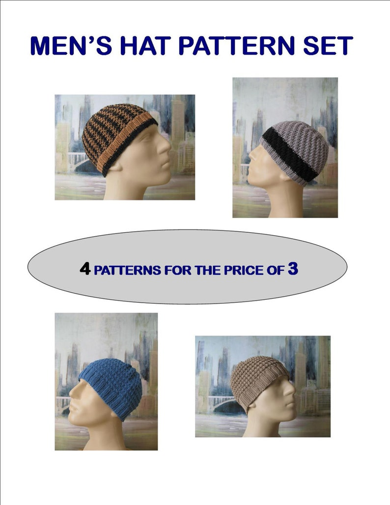 Instant Download Men's Knit Hat Set of Knitting Patterns for 4 Cotton Chemo  Hats