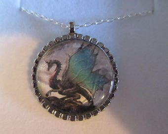 Green dragon, glass cabochon, silver plated bezel, sterling silver chain