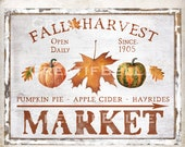 8.5x11 Plus 4 inch Squares Fall Harvest Market Pumpkin Sign Fall Wreath Decor Accent Transfer Sign Fall Tiered Tray Art Digital Print 2049