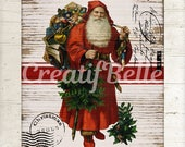 Vintage Rustic Santa on Wood Instant Digital Download Printable Christmas Holiday Graphic Art Transfer Image 0550