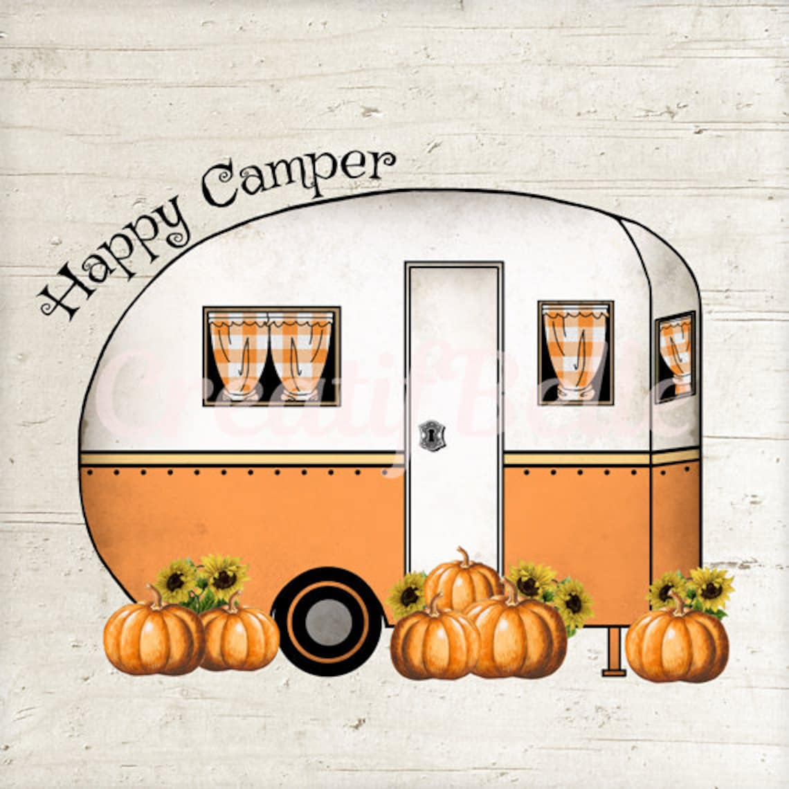 Happy Camper Pumpkins Instant Digital Download Printable Graphic Transfer Image