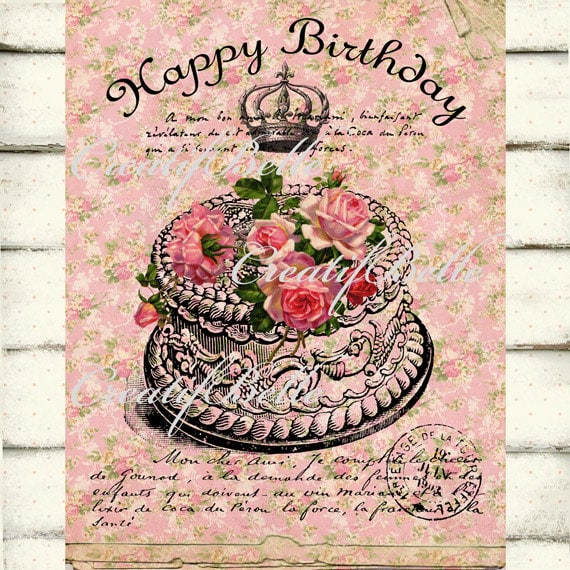 Victorian Shabby Chic Happy Birthday Cake Roses Large Instant