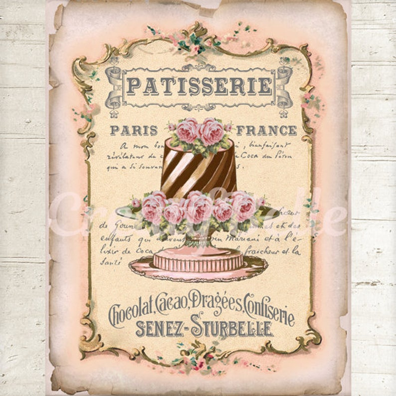 Pasticceria Shabby Chic.French Vintage Shabby Chic Patisserie Cake Instant Digital Download Printable Graphic Transfer Image 0897