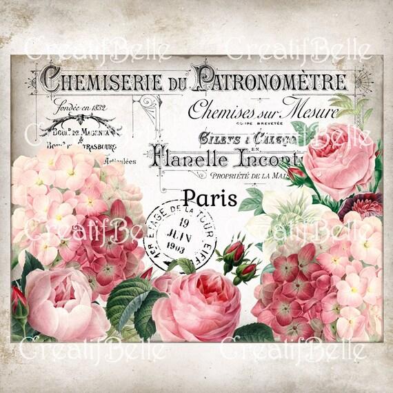 Französisch Vintage Shabby Chic Rosen & Hortensien, Französisch Kranz  Zeichen Akzent, Floral Stoff Transfer, Instant DigitalDruck 1238